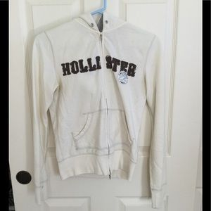 white hollister zip up